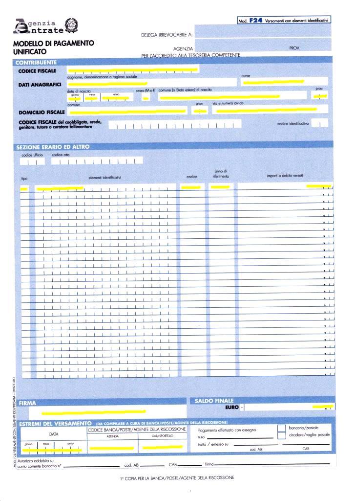 f24 elementi identificativi